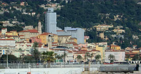 Menton, France - December 5, 2018: View Of The Old Town Of Menton From Roquebrune-Cap-Martin, Mediterranean Sea On The French Riviera, Europe - DCi 4K Resolution