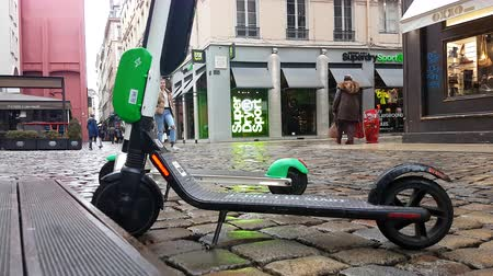Lyon, France - January 4, 2019: Two Lime-S Electric Rental Scooter Parked In Merciere Street Street In Lyon, France, Europe - 4K Resolution