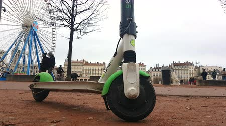 Lyon, France - January 4, 2019: Lime-S Electric Rental Parked Scooter On Place Bellecour In Lyon, France, Europe - 4K Resolution