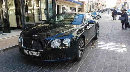 Monte-Carlo, Monaco - January 25, 2019: Luxurious Bentley Continental Car Parked In Front Of The Hermitage Hotel Monte-Carlo In Monaco. French Riviera, Europe - 4K Video Dostupné videozáznamy
