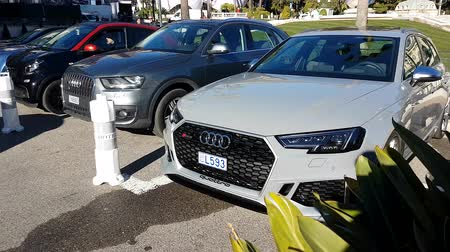 por que : Monte-Carlo, Monaco - January 25, 2019: Luxury Audi RS4 Quattro Sport Car Parked In Front Of The Monte Carlo Casino In Monaco, French Riviera, France, Europe - 4K Video