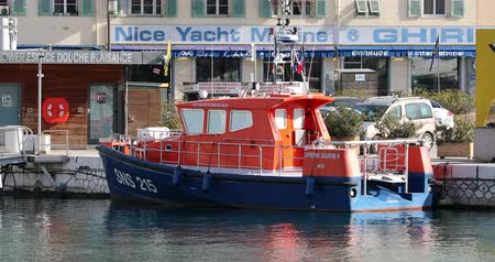 göçmen : Nice, France - January 29, 2019: Boat Rescuers At Sea Moored In The Port Lympia In Nice, France. SNSM Is A French Voluntary Organization Founded In 1967 - DCi 4K Resolution