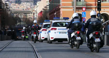 Nice, France - January 29, 2019: Many Cars (Citroen C4) And Scooters Of The Municipal Police Patrol On Jean Medecin Avenue In Nice, French Riviera, France, Europe - DCi 4K Resolution