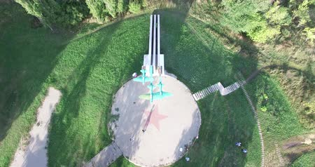 voronezh : Voronezh, Russia, Monument to airplane of the Second World War. Rural landscape. Aerial Stock Footage
