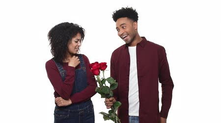 afro americana : Man giving a rose to woman for apologize. woman with Unhappy, angry wife refuses apology. Relationship problem. Stock Footage