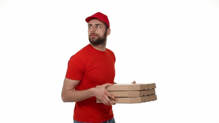 professionally : Pizza delivery man delivers finding for house to service.