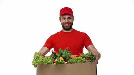 correio : Delivery man delivering package of grocery.