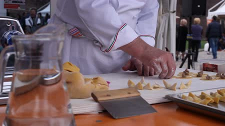 chef cooking : Chef cooking the casonsei the italian stuffed pasta