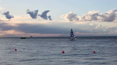 Sailboats at sunset during the 49 Barcolana Stock Footage