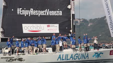 регата : Pendragon Alilaguna boat winner the third place of the 49 Barcolana regatta i
