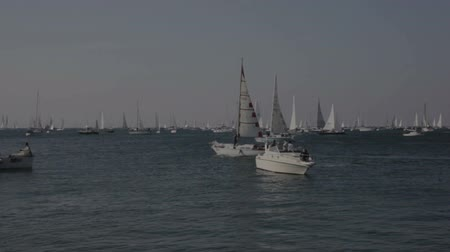 üç renkli : TRIESTE, ITALY - 12 OCTOBER 2018: Sailboats during the 50 Barcolana on 12 October, 2018