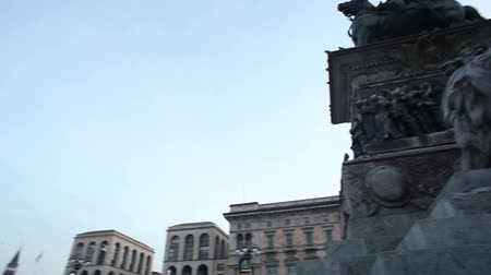View of Duomo square in Milan, Italy Stock Footage