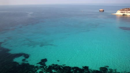 View of the most famous sea place of Lampedusa, It is named Beach of the rabbits, in English language Rabbits Stock Footage