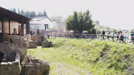 PIAZZA ARMERINA, ITALY - APRIL, 24: Roman Villa at the Casale, Roman villa designated as a UNESCO World Heritage, famous for the extraordinary collection of frescoes and mosaics on April 24, 2019