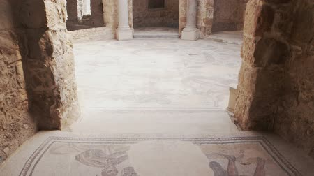 Сицилия : PIAZZA ARMERINA, ITALY - APRIL, 24: Mosaics of frigidarium. Roman Villa del Casale, large and elaborate Roman villa designated as a UNESCO World Heritage Site on April 24, 2019 Стоковые видеозаписи