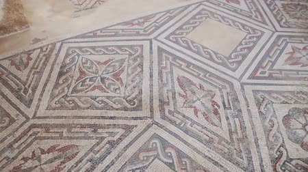PIAZZA ARMERINA, ITALY - APRIL, 24: Mosaics of the Roman Villa at the Casale, large and elaborate Roman villa designated as a UNESCO World Heritage Sites on April 24, 2019