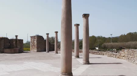 sicilian : PIAZZA ARMERINA, ITALY - APRIL, 24: Columns of the Roman Villa at the Casale, Roman villa designated as a UNESCO World Heritage, famous for the extraordinary collection of frescoes and mosaics on April 24, 2019