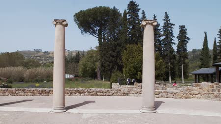 dünya mirası : PIAZZA ARMERINA, ITALY - APRIL, 24: Columns of the Roman Villa at the Casale, Roman villa designated as a UNESCO World Heritage, famous for the extraordinary collection of frescoes and mosaics on April 24, 2019