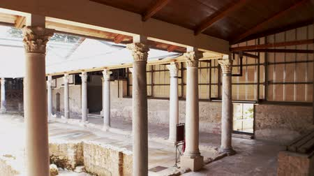 PIAZZA ARMERINA, ITALY - APRIL, 24: View of the Roman Villa at the Casale, large and elaborate Roman villa designated as a UNESCO World Heritage Site, famous for the extraordinary collection of frescoes and mosaics on April 24 Stock Footage