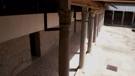 villa historisch : PIAZZA ARMERINA, ITALY - APRIL, 24: View of the Roman Villa at the Casale, large and elaborate Roman villa designated as a UNESCO World Heritage Site, famous for the extraordinary collection of frescoes and mosaics on April 24 Videos