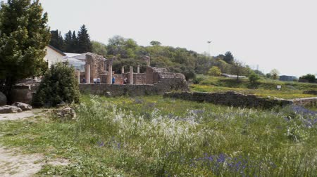 sicilian : PIAZZA ARMERINA, ITALY - APRIL, 24: Roman Villa at the Casale, Roman villa designated as a UNESCO World Heritage, famous for the extraordinary collection of frescoes and mosaics on April 24, 2019