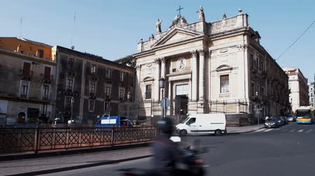 san biagio : CATANIA, ITALY - APRIL, 26: View of the San Biagio church and the Roman ruins in Stesicoro square on April 26, 2019
