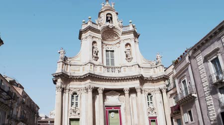 iitaly : CATANIA, ITALY - APRIL, 26: View of Colleggiata church located in the street Etnea on April 26, 2019