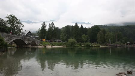 View of lake Bohinj the largest permanent lake in Slovenia Stock Footage