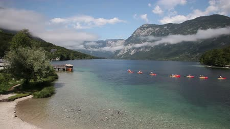 Kayaking in the lake Bohinj the largest permanent lake in Slovenia