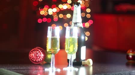 флейты : Champagne flutes and for an happy new year. Light bubble on the background