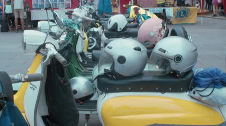 restaurar : TRIESTE, ITALY - OCTOBER 01: A lot of Lambretta scooters exposed at the National Day of the Vintage Vehicle on October 01, 2019