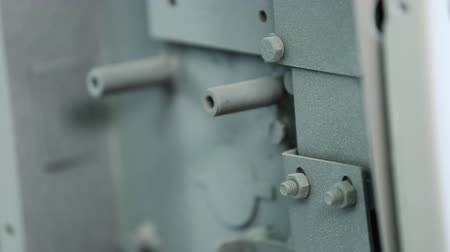 strongbox : Parts of the locking mechanism of the safe. In assembled form. Are removed at an angle. Are painted. Close up Natural light.