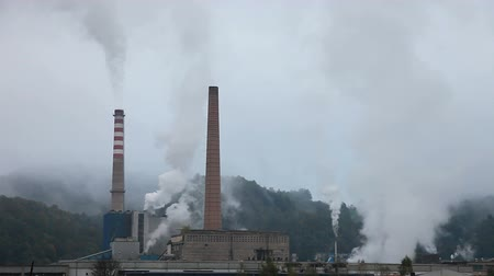 exterior : Industry Pollution in nature time laps