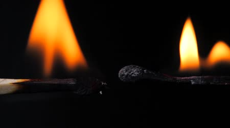 match : A matchstick lights ignition Stock Footage