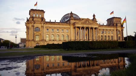 chancellor : German Parliament in Berlin after rain Stock Footage