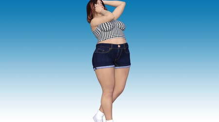 Conceptual overweight big, heavy or fat woman before and after diet, fitness or liposuction turning into a beautiful slim fit young girl. A 4k video 3D rendering animation on blue sky background