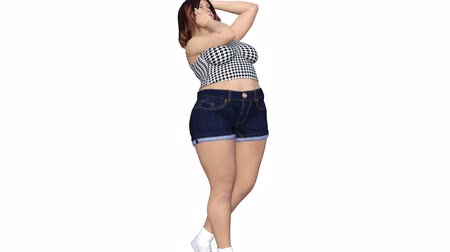 Conceptual overweight big, heavy or fat woman before and after diet, fitness or liposuction turning into a beautiful slim fit young girl. A 4k video 3D rendering animation isolated on white background Stock Footage