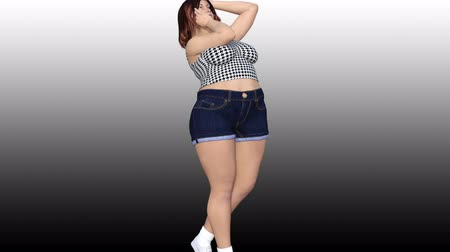 Conceptual overweight big, heavy or fat woman before and after diet, fitness or liposuction turning beautiful slim fit young girl. A 4k video 3D rendering animation on gray black gradient background