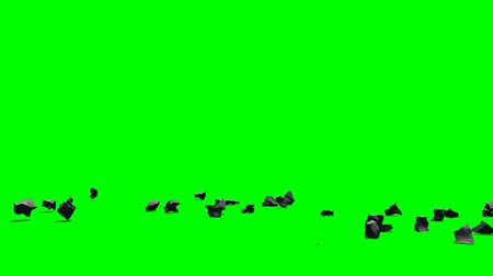 vacant : Stones debris explode - seperated on green screen