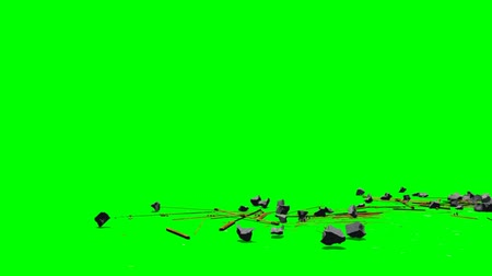 destruído : wood, stone and glass debris explode - isolated on green screen
