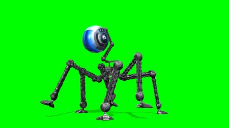 robot : Alien machine hexapod walk -  green screen Stock mozgókép