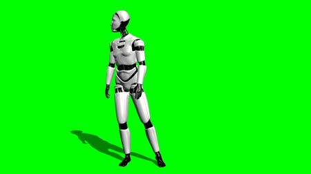 robot : Human I-Robot looking around - green screen Stock mozgókép