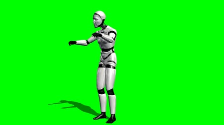robots : Human I-Robot explains something - green screen