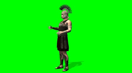 imparatorluk : Roman Soldier talk -green screen Stok Video
