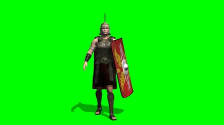 imparatorluk : Roman Soldier walk -  green screen Stok Video