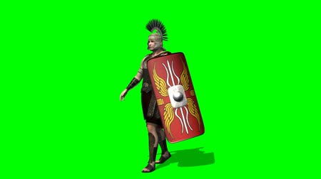 soldados : Roman Soldier walk -  green screen Stock Footage