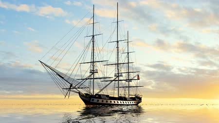 damarlar : Sailing Ship  in the sunset Stok Video