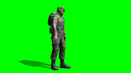 soldados : US Soldier looking around - seperated on green screen
