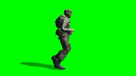 soldados : US Soldier runs - seperated on green screen