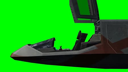 pilótafülke : Spaceship Cockpit open and close - green screen  Stock mozgókép
